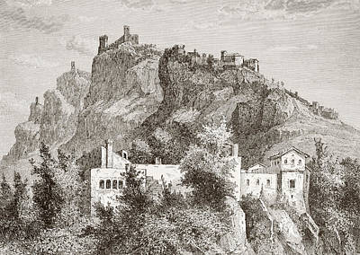 Castle Drawing - San Marino In The Late 19th Century by Vintage Design Pics