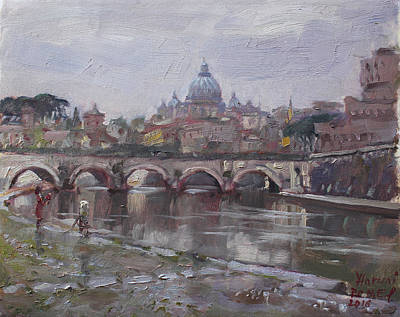 San Pietro In A Rainy Day Rome Print by Ylli Haruni