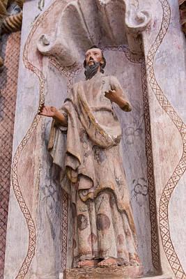 San Xavier Mission - Interior Statue - Tucson Arizona Print by Jon Berghoff
