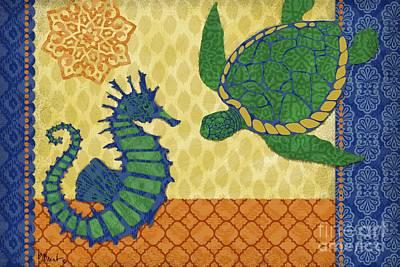 Ocean Turtle Painting - Sanctuary Bay - Horizontal by Paul Brent