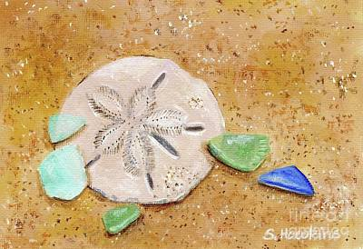 Sand Dollar Painting - Sand Dollar And Beach Glass by Sheryl Heatherly Hawkins