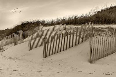 Friendly Digital Art - Sand Fences - Sepia by Brian Wallace
