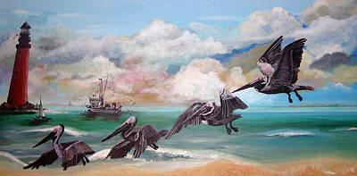 Sand Island Pelicans Print by Teresa Hay