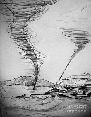 Tornado Drawing - Sand Storm And Old Laboratory by Sofia Goldberg