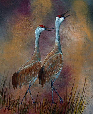 Crane Painting - Sandhill Crane Duet by Dee Carpenter