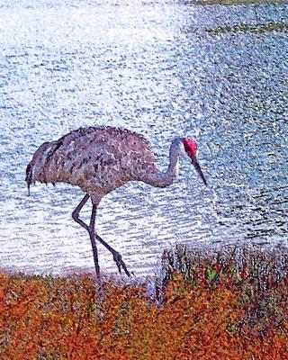 Crane Digital Art - Sandhill Crane Stroll Painted by Adele Moscaritolo