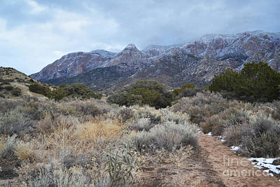 Sandia Mountains Storm Winter Landscape Print by Andrea Hazel Ihlefeld