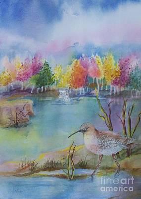 Maryann Painting - Sandpiper S Pond by Maryann Schigur