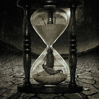 Philosophical Digital Art - Sands Of Time ... Memento Mori - Monochrome by Marian Voicu