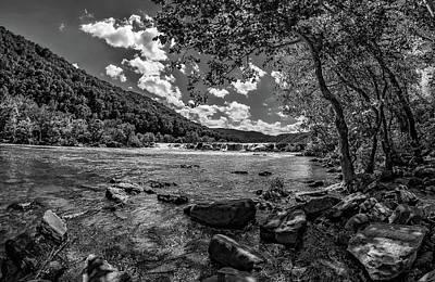 Ledge Photograph - Sandstone Falls West Virginia 3 Bw by Steve Harrington