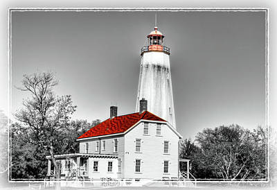 Base Path Photograph - Sandy Hook Lighthouse And Selective Coloring  by Geraldine Scull