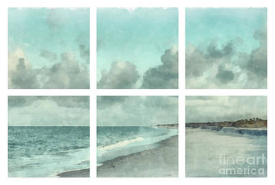 Sanibel Island Bowman Beach Watercolor Grid Print by Edward Fielding