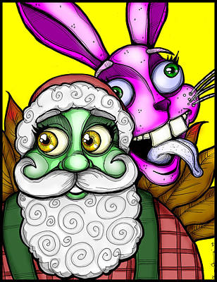 Santa And Bunny Print by Christopher Capozzi
