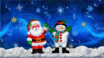 Santa And Frosty Painting Image With Canvased Texture Print by Catherine Lott