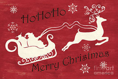 Red Drawing - Santa And Reindeer Sleigh by Debbie DeWitt
