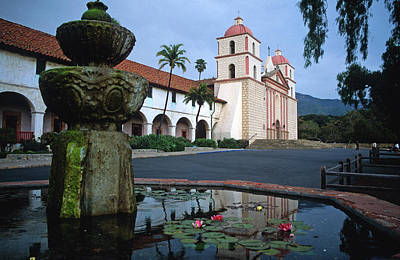 Santa Barbara Mission With Fountain 2 Print by Kathy Yates