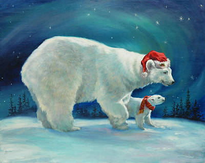 For Children Painting - Santa Bear by Laurie Hein
