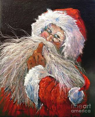 Santa Claus Painting - Santa Claus - Christmas Secrets - Shhh, Don't Tell by Shelley Schoenherr