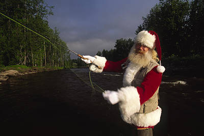 Santa Claus Fly Fishing Print by Michael Melford