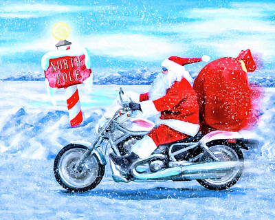 Arctic Mixed Media - Santa Claus Has A New Ride by Mark Tisdale