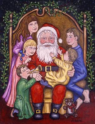 Seasonal Painting - Santa Claus With Children by Linda Mears