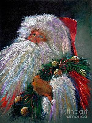 Santa Claus With Sleigh Bells And Wreath  Print by Shelley Schoenherr