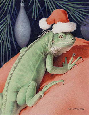 Iguana Drawing - Santa Claws - Bob The Lizard by Amy S Turner