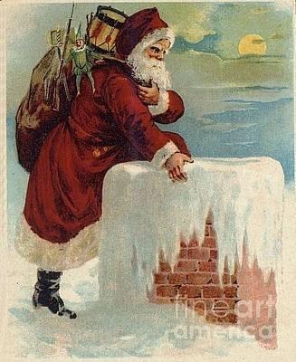 Santa Climbing Down Chimney Original by Frederick Holiday