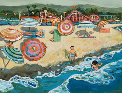 Umbrella Painting - Santa Cruz Beach Boardwalk by Jen Norton