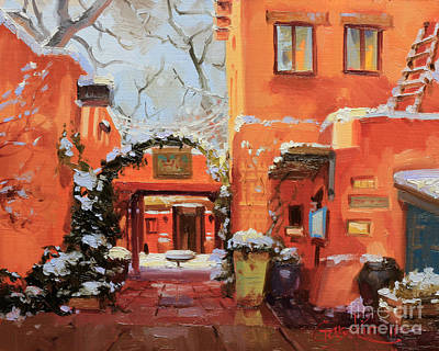 Rooftops Painting - Santa Fe Cafe by Gary Kim