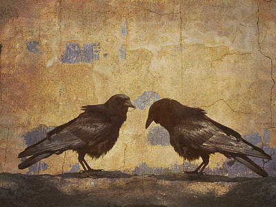 Gold Photograph - Santa Fe Crows by Carol Leigh