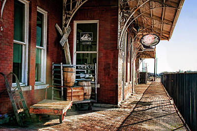 Train Depot Photograph - Santa Fe Depot Of Guthrie by Lana Trussell