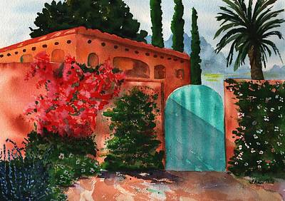 Southwest Gate Painting - Santa Fe Dwelling by Sharon Mick