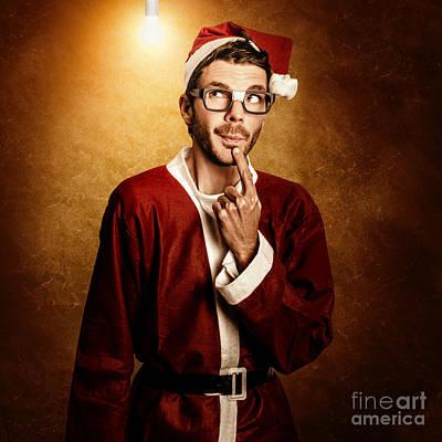 Santa Helper Thinking Smart Christmas Ideas Print by Jorgo Photography - Wall Art Gallery