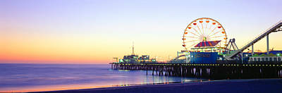 Santa Monica Pier At Sunset, California Print by Panoramic Images