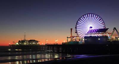 Ferris Wheel Night Photograph - Santa Monica Pier At Sunset by Frank Freni