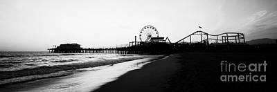 Ferris Wheel Night Photograph - Santa Monica Pier Black And White Panoramic Photo by Paul Velgos
