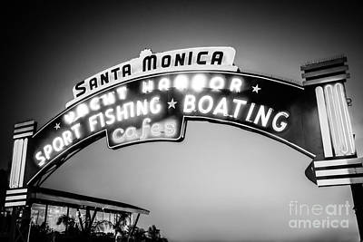 Santa Monica Pier Sign Black And White Photo Print by Paul Velgos
