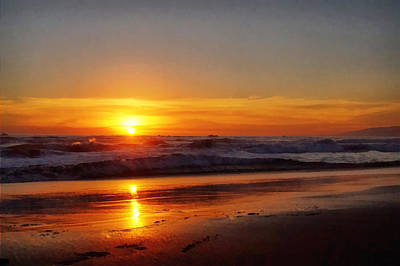 Santa Monica Digital Art - Santa Monica Sunset by Ernie Echols