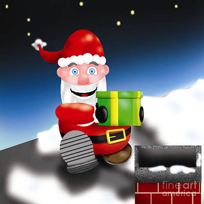 Santa Near Chimney Original by Frederick Holiday