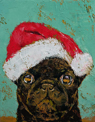 Red Hat Painting - Santa Pug by Michael Creese