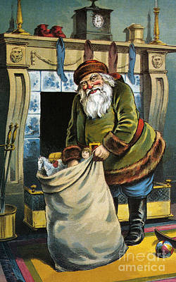 Santa Unpacks His Bag Of Toys On Christmas Eve Print by William Roger Snow