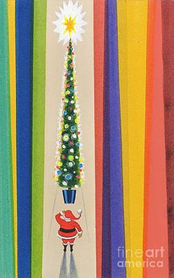 Santa Claus Painting - Santa's Christmas Tree by Stanley Cooke