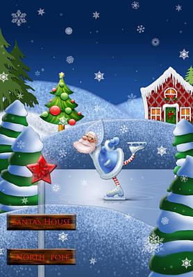 Santa's House - North Pole  Print by Maggie Terlecki