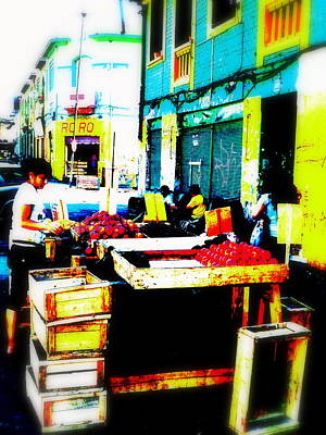 Santiago Fruit Stalls Print by Funkpix Photo Hunter