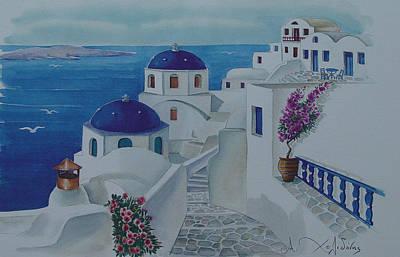 Santorini Greece Blue Churches Print by Helidon