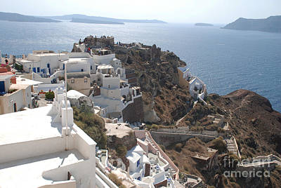 Greece Photograph - Santorini Greece Rooftop View Of Caldera by Just Eclectic