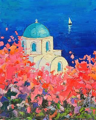 Santorini Impression - Full Bloom In Santorini Greece Original by Ana Maria Edulescu