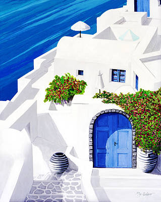 Umbrellas Painting - Santorini Sun by Mary Grden's Baywood Gallery