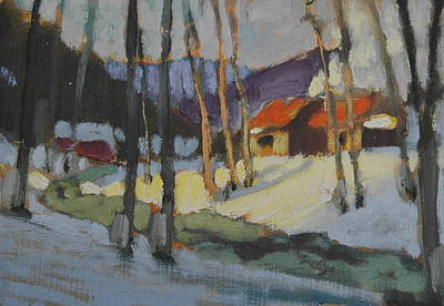 Distant Mountains Painting - Sap House   Study by Len Stomski